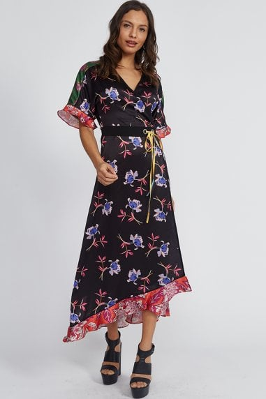 Mix Floral Print Wrap Dress