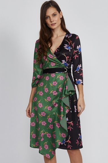 Mix Floral Print Frill Dress