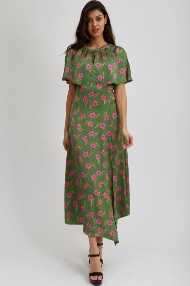 Green Floral Asymmetric Maxi Dress