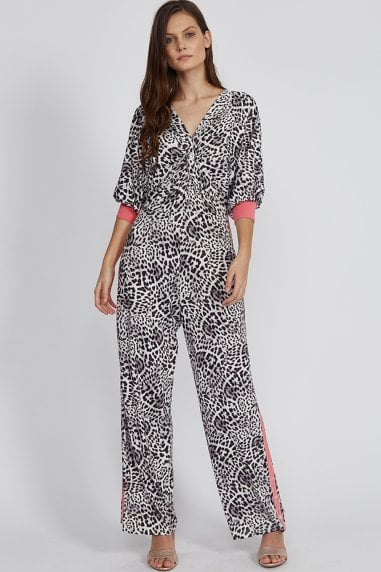 Animal Print Jumpsuit With Hot Pink Trim