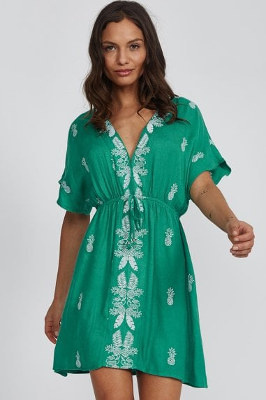Green Pineapple Embroidered Mini Dress