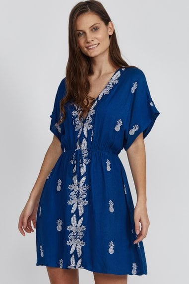 Blue Pineapple Embroidered Mini Dress