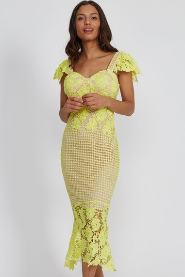 Pistachio Lace Midi Dress