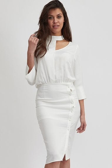 White Choker Neck Long Sleeve Midi Dress