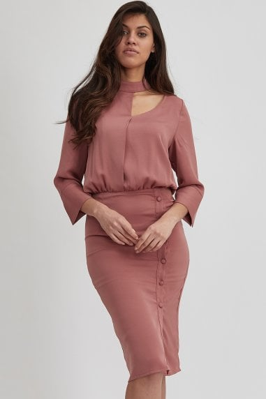 Dusty Pink Choker Neck Long Sleeve Midi Dress