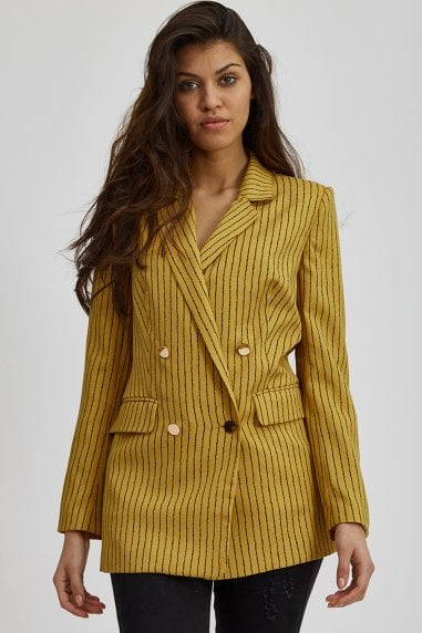 Mustard Striped Blazer Jacket