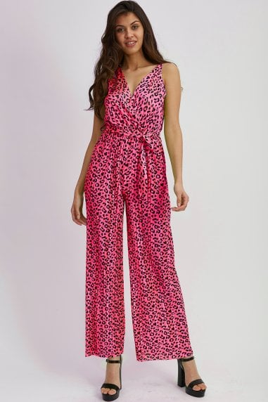 Hot Pink Animal Print Jumpsuit