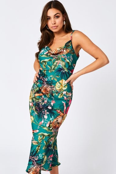 Coyote Green Jungle-Print Satin Midi Slip Dress