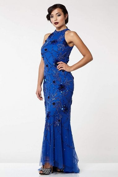 Agnes Vintage Inspired Maxi Prom Dress in Royal Blue