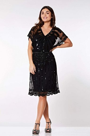 Angel Sleeve Flapper Dress in Black