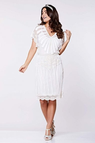 Angel Sleeve Flapper Dress in Off White