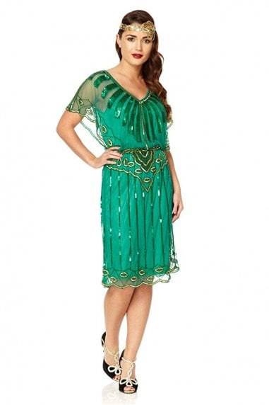 Angel Sleeve Flapper Dress in Emerald Green