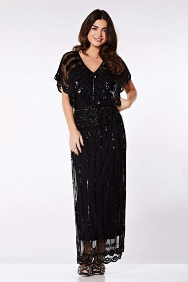 Angelina Vintage Inspired Maxi Dress in Black