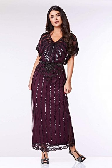 Angelina Vintage Inspired Maxi Dress in Plum