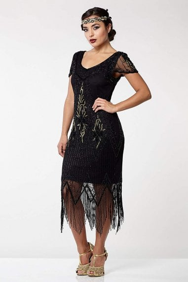 Annette Fringe Flapper Dress in Black Gold