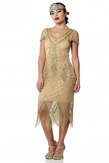 Annette Fringe Flapper Dress in Antique Gold