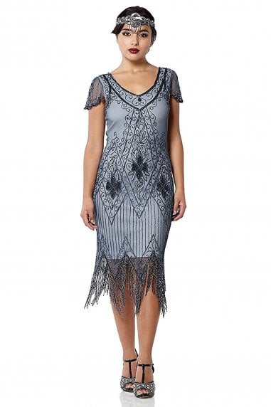 Annette Fringe Flapper Dress in Blue Grey