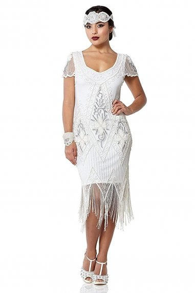 Annette Fringe Flapper Dress in White Silver