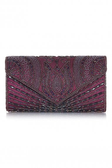 Beatrice Hand Embellished Clutch Bag in Purple Plum