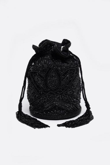 Beatrice Hand Embellished Bucket Bag in Black