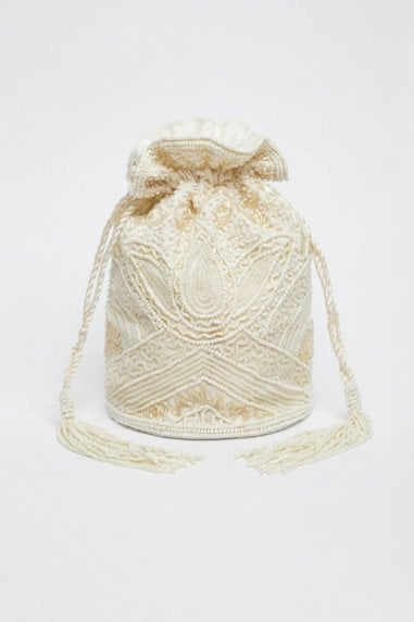 Beatrice Hand Embellished Bucket Bag in Cream