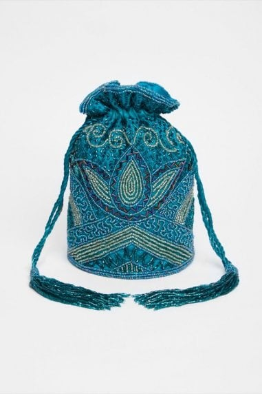 Beatrice Hand Embellished Bucket Bag in Teal