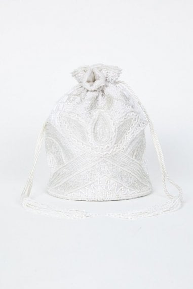 Beatrice Hand Embellished Bucket Bag in White