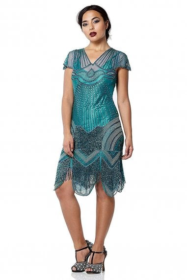 Beatrice Fringe Flapper Dress in Teal