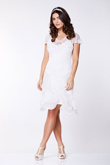 Beatrice Fringe Flapper Dress in White