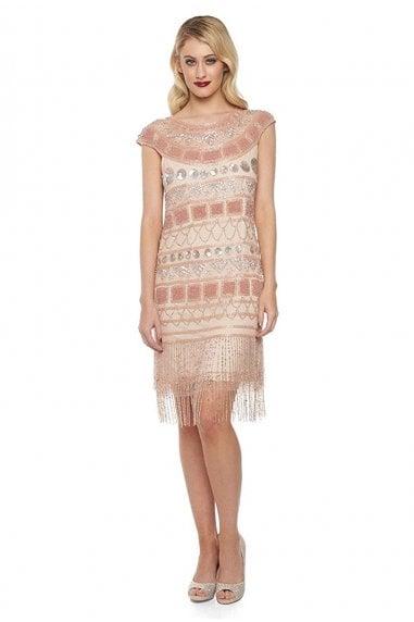 Beverley Fringe Flapper Dress in Champagne Blush