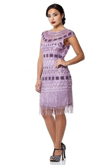 Beverley Fringe Flapper Dress in Lilac