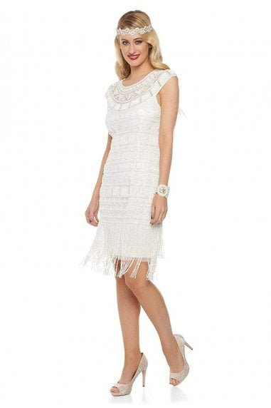 Beverley Fringe Flapper Dress in Off White