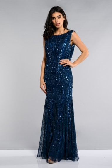Catherine Maxi Prom Dress with Cowl Back Neck in Midnight Blue