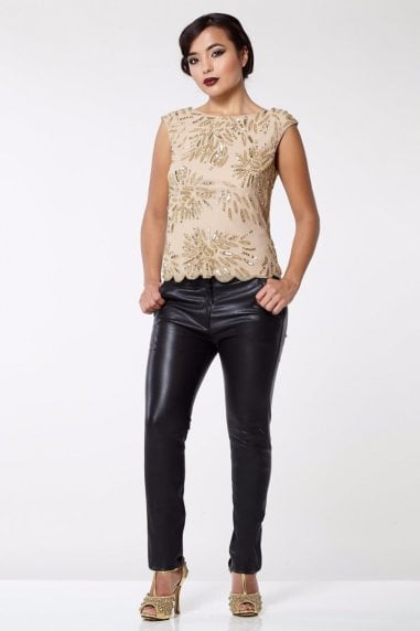 Claudia Genuine Stretch Fitted 100% Leather Trousers in Black