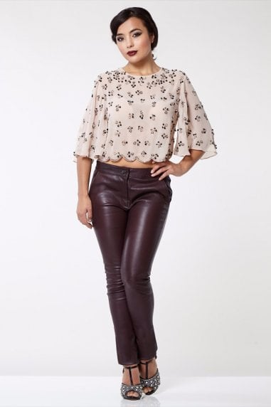 Claudia Genuine Stretch Fitted 100% Leather Trousers in Burgundy