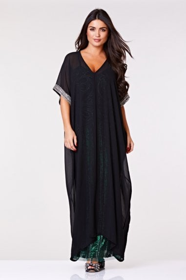 Gatsbylady Dee Long Kaftan in Black
