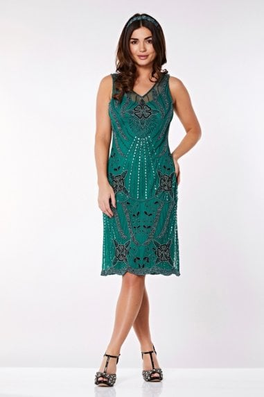 Diana Flapper Dress in Teal