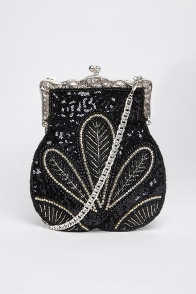 Dollie Hand Beaded Flapper Purse in Black