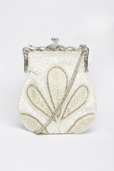 Dollie Hand Beaded Flapper Purse in Cream