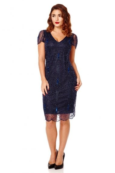 Downton Abbey Flapper Dress in Navy Blue
