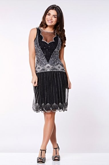 Elaina Drop Waist Flapper Dress in Black