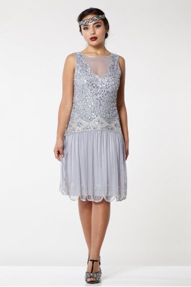 Elaina Drop Waist Flapper Dress in Lilac