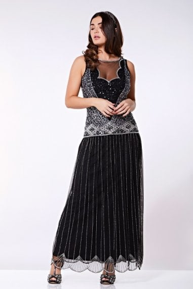 Elaina Drop Waist Flapper Maxi Dress in Black