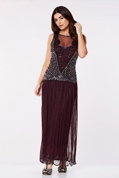 Elaina Drop Waist Flapper Maxi Dress in Plum