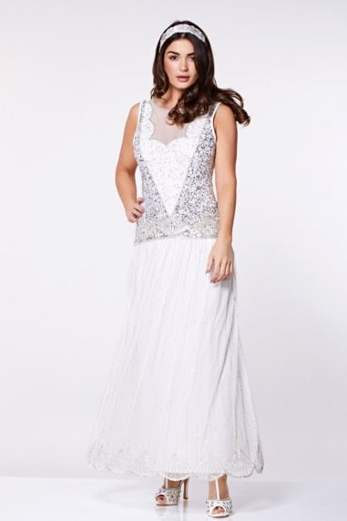 Elaina Drop Waist Flapper Maxi Dress in Off White