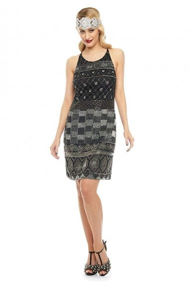 Eloise Halter Neck Dress in Black Silver