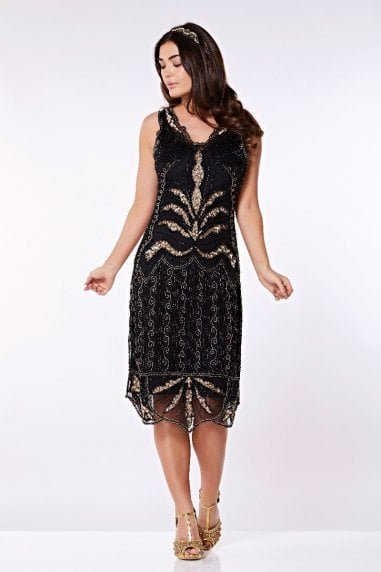 Elsa Midi Length Flapper Dress in Black Gold