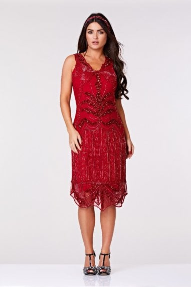 Elsa Midi Length Flapper Dress in Red