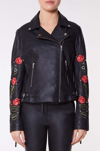 Elvira Genuine Handcrafted Leather Jacket Embroidered with Roses
