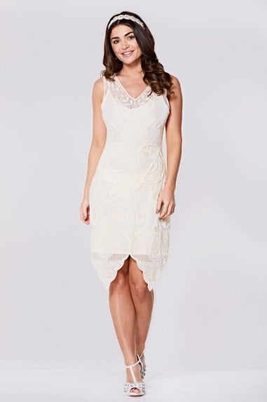 Emma Flapper Dress in Cream